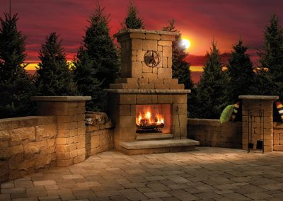 brick paver outdoor fireplace