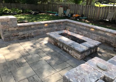 brick paver patio with fire feature