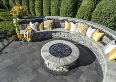 brick paver fire pit with seating wall installation