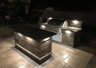 outdoor landscape lighting and outdoor kitchen