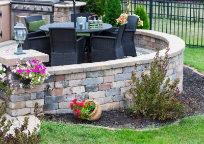 Comfortable Seating On A Raised Exterior Patio With Curved Round