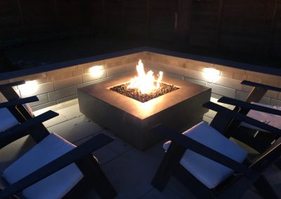 Unilock Brick paver retaining wall & fire Pit in Deerfield IL